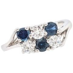 14 Karat White Gold 1.20 Carat Diamond and Sapphire Ring