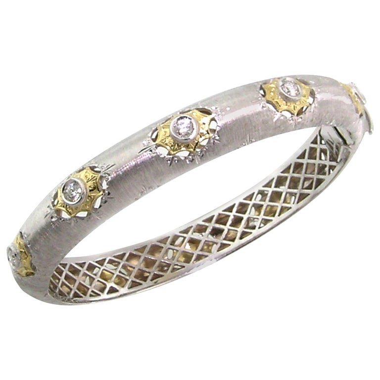 0.45 Carat Diamond and 18 Karat Gold Florentine Engraved Bangle, Made in Italy