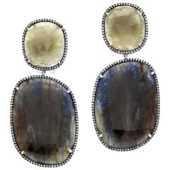 Slices of Multi Sapphire Diamond Pave Gold Earrings