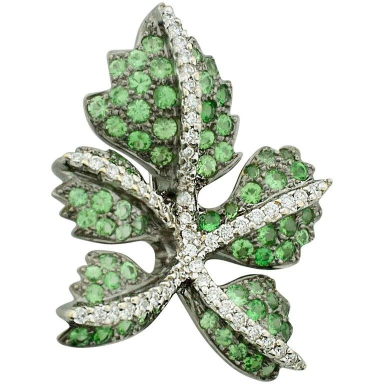 18 Karat Tsavorite Garnet and Diamond Leaf Brooch