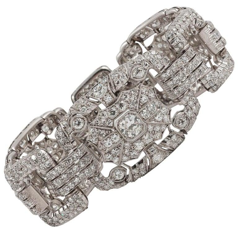 Art Deco Platinum and Diamond Plaque Bracelet
