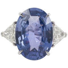 Natural No Heat Bluish Purple Oval Cut 9.51cts Sapphire & Diamond Platinum Ring