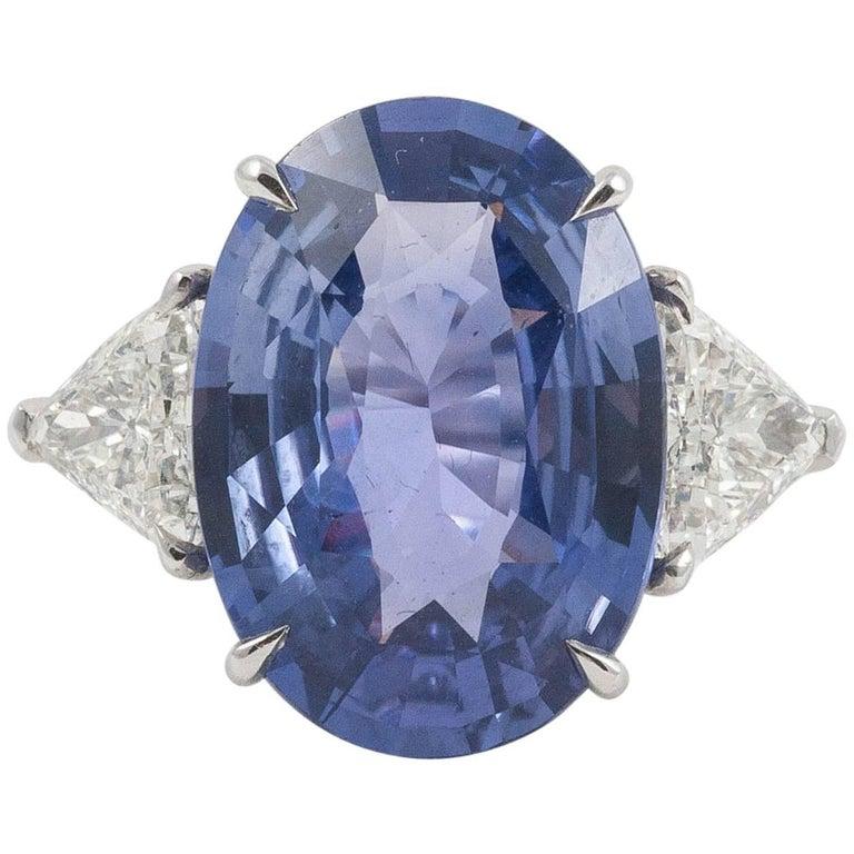 Natural No Heat Bluish Purple Oval Cut 9.51cts Sapphire & Diamond Platinum Ring