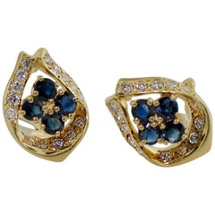 Sapphire and Diamond Earrings in Yellow Gold