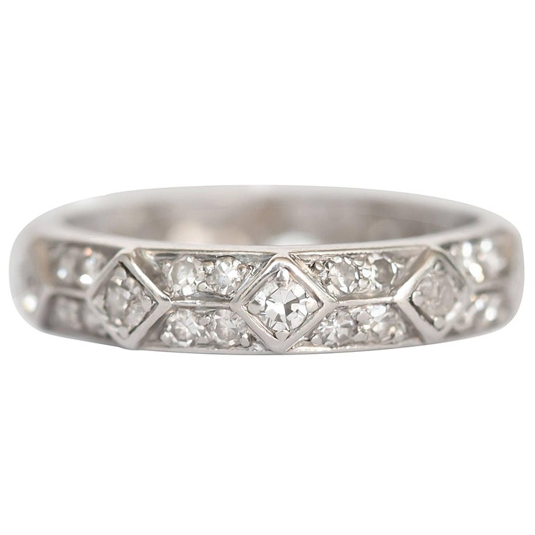 1920s Art Deco Platinum & Diamond Wedding Band