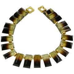 Stunning Lustrous Bi Color Lemon Quartz Gemstone Statement Necklace