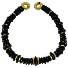 Spectacular Black Spinel Facet Bead Gilded Silver Statement Necklace