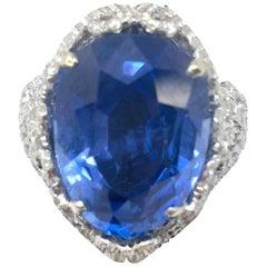 GIA Certified 13.85 Carat Burma Sapphire Ring
