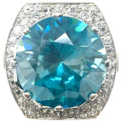 Blue Zircon Platinum and Diamond Ring 20 Carat