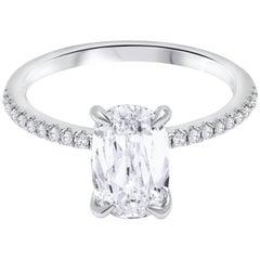 1.89 Carat Elongated Cushion Diamond Pave Engagement Ring