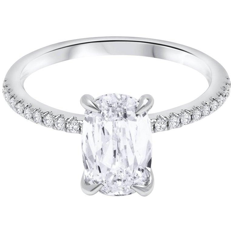 1 89 Carat Elongated Cushion Diamond Pave Engagement Ring