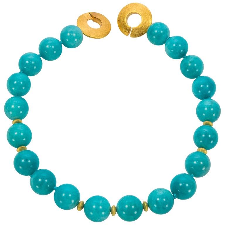 Large Blue Amazonite Gemstone Statement Necklace