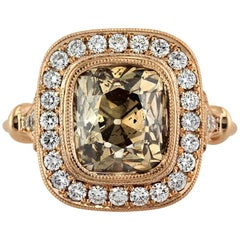 Mark Broumand 4.56 Carat Fancy Orangy Brown Old Mine Cut Diamond Ring