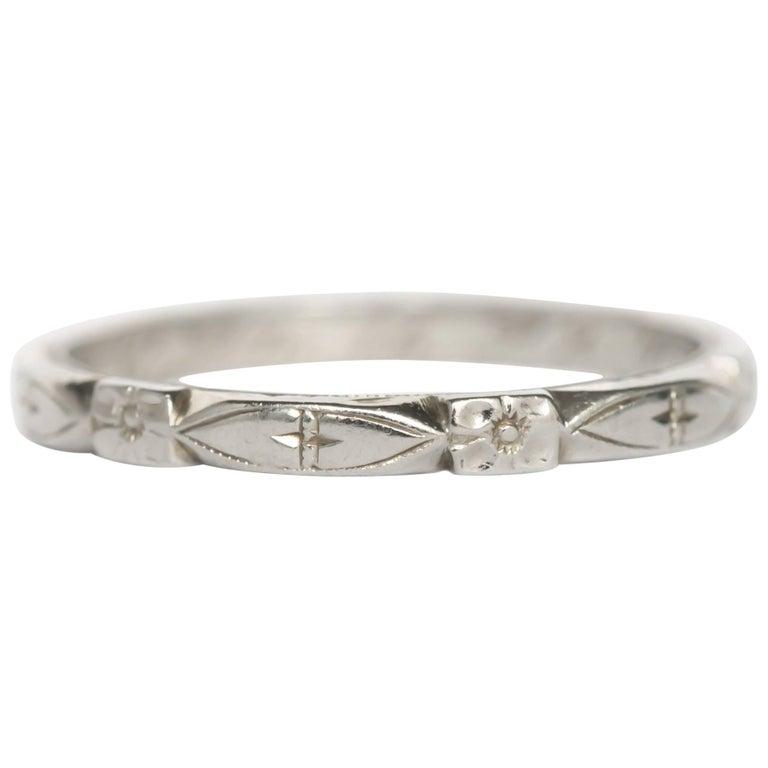 1930 Art Deco 18 Karat White Gold Wedding Band Ring