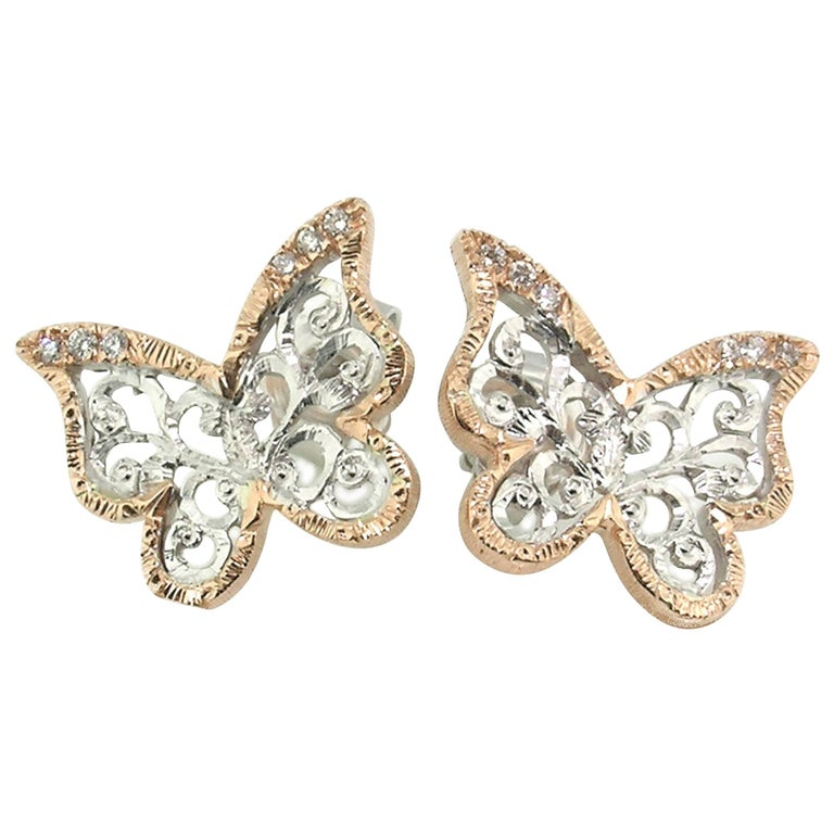 Diamond and 18 Karat Gold Florentine Engraved Butterfly Earrings, Made in Italy