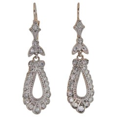 Vintage Diamond Platinum Gold Earrings