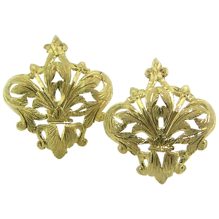 18kt Gold Fleur de Lis Earrings, Handmade and Hand Engraved in Florence, Italy