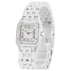 Cartier White Gold Diamond Bezel Panther Quartz Wristwatch Ref WF3091F3