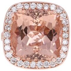 20.23 Carat Morganite Diamond Rose Gold Ring