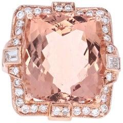 23.39 Carat Morganite Diamond Rose Gold Ring