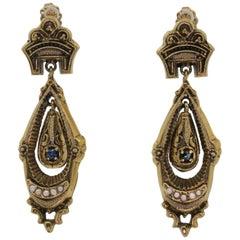 Vintage Seed Pearl Sapphire Dangle Earrings