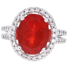 4.75 Carat Fire Opal Diamond Cocktail White Gold Ring