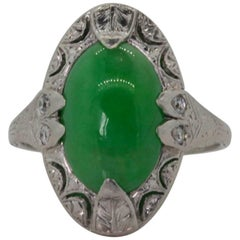 Antique Jadeite Platinum Ring