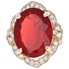 13.11 Carat Fire Opal Diamond 14 Karat Yellow Gold Ring