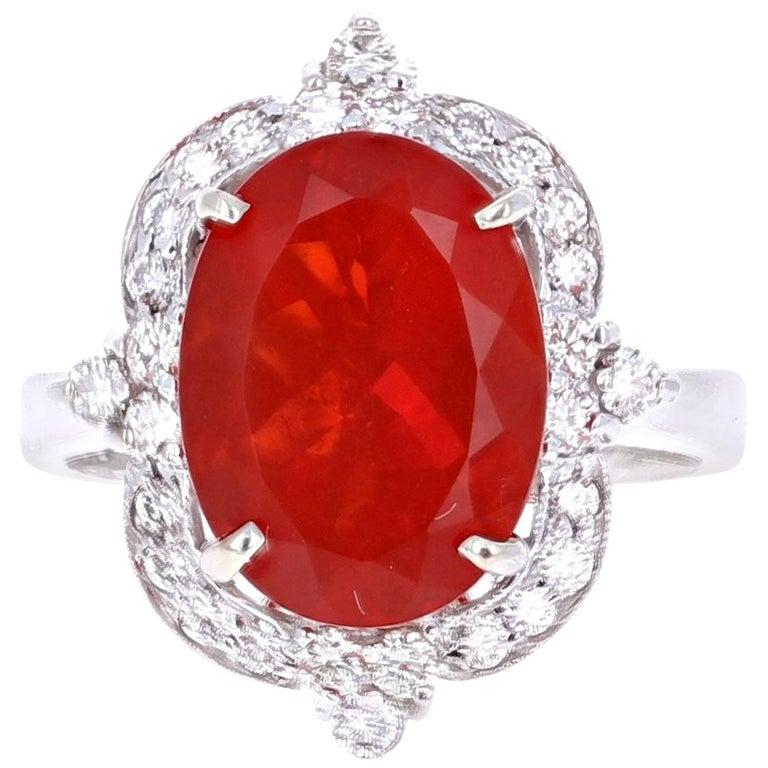 4.84 Carat Fire Opal Diamond 14 Karat White Gold Ring