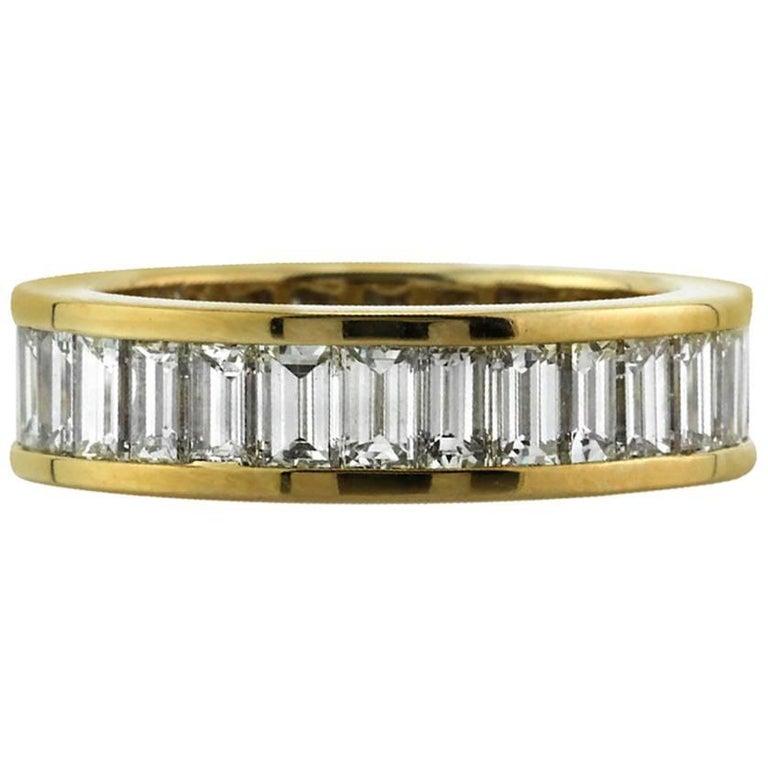 Mark Broumand 3.50 Carat Baguette Cut Diamond Eternity Band in 18 Karat Gold