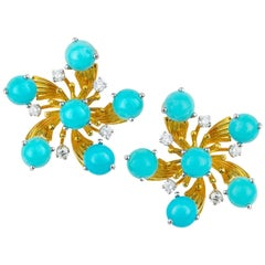 Schlumberger Turquoise and Diamond Earclips