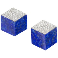 Umrao Lapis and Diamond Cube Earclips