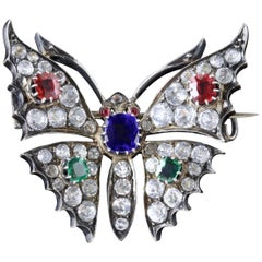 Antique French Victorian Butterfly Brooch Tanzanite, circa 1870