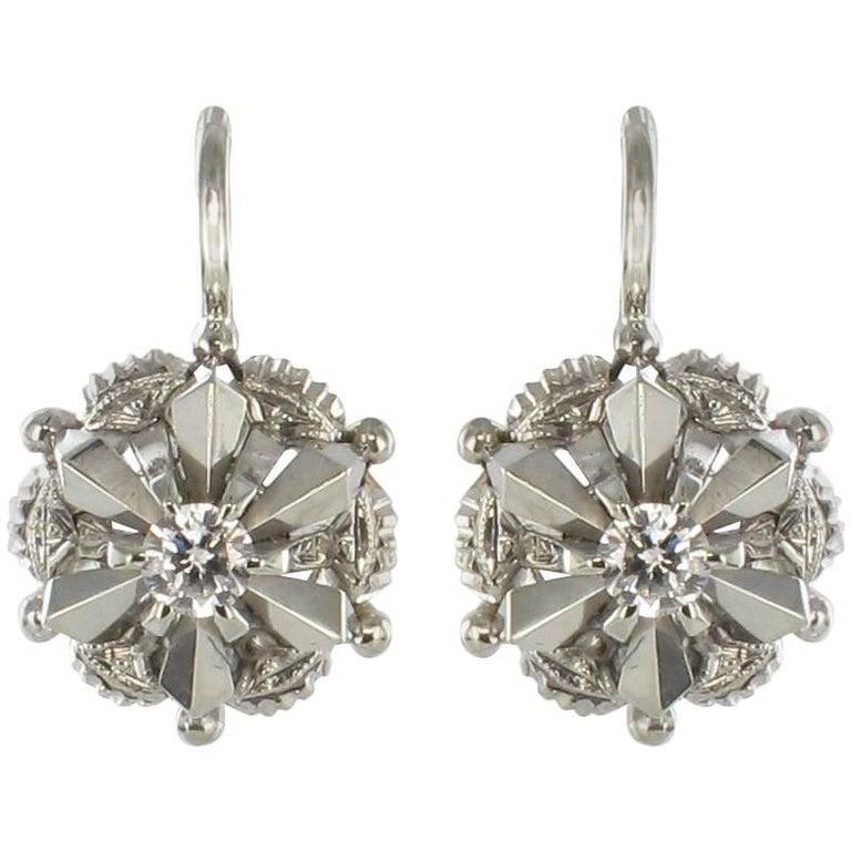 1950s Retro Diamond 18 Karat White Gold Drop Earrings