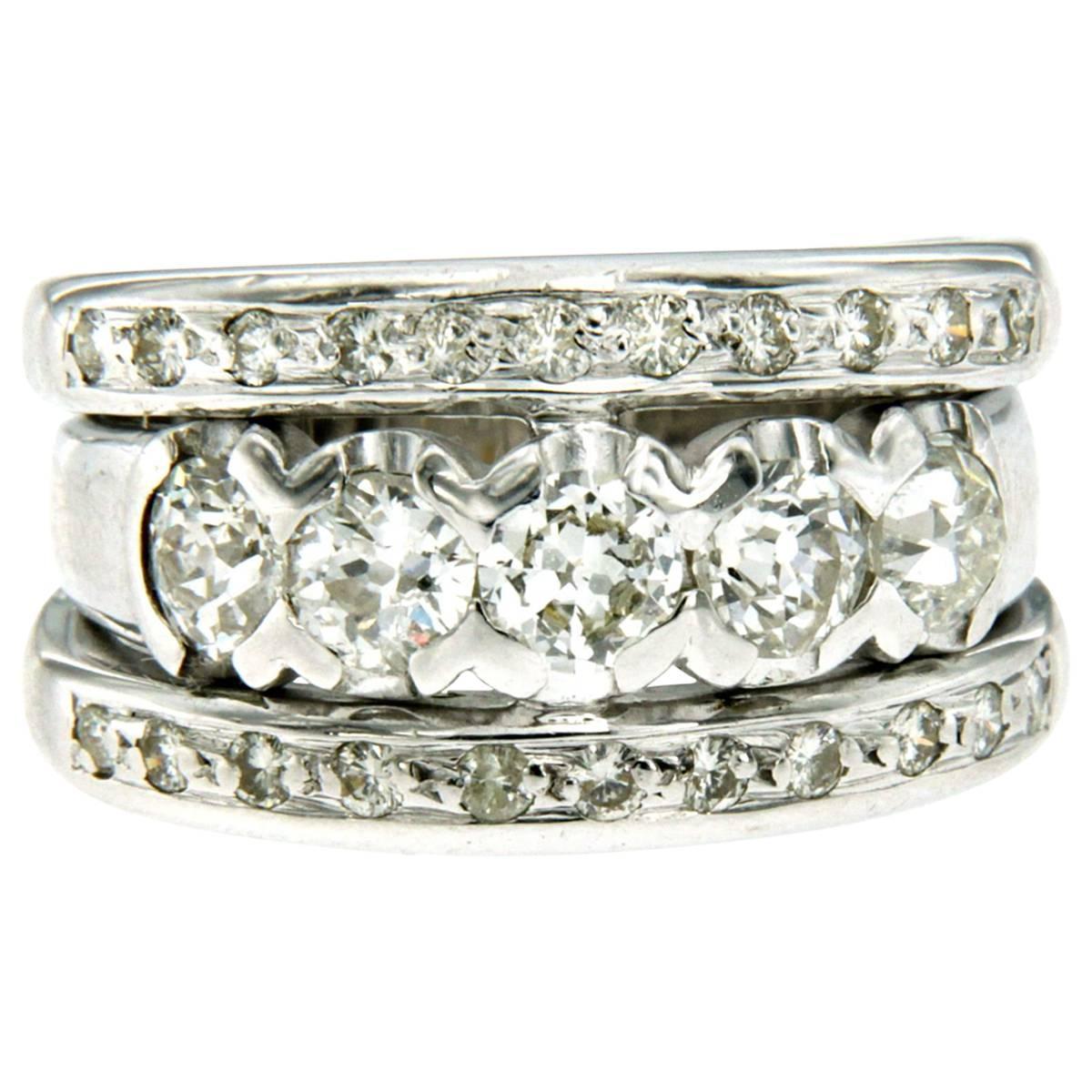 Vintage 1.50 Carat Diamond Gold Band Ring