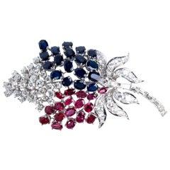 Diamond Ruby Sapphire Brooch