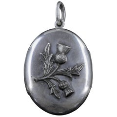 Antique Victorian Scottish Locket Silver Thistle, circa 1880