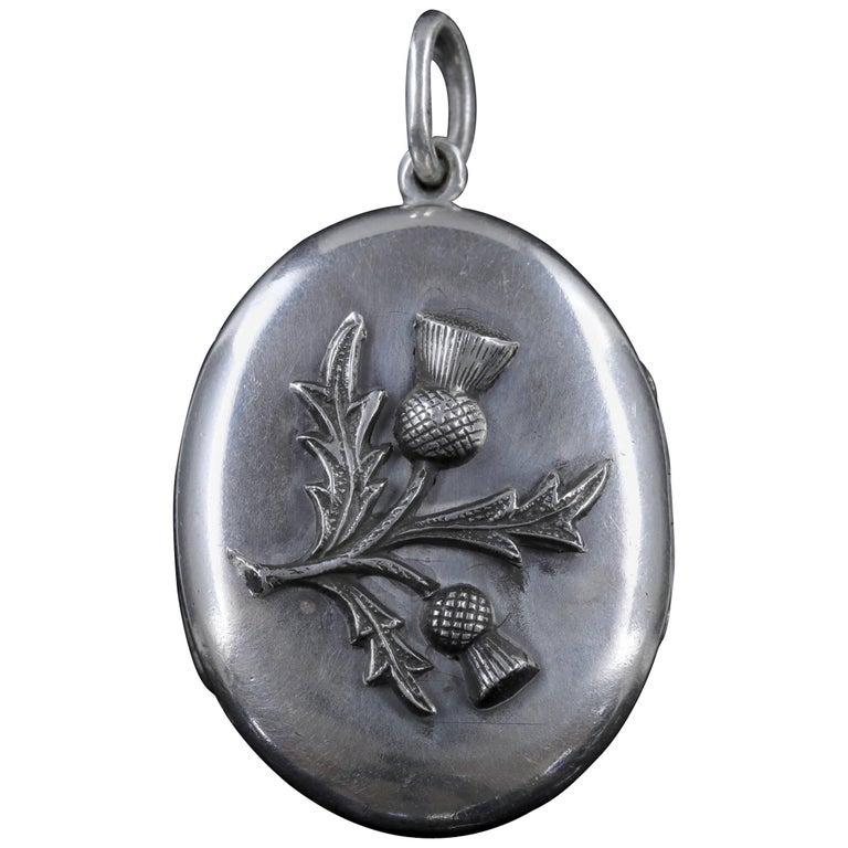 Antique Victorian Scottish Locket Silver Thistle, circa 1880