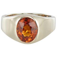 French 3.50 Carat Spessartite Garnet 18 Karat White Gold Ring