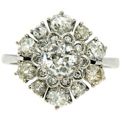 2.50 Carat Diamond Gold Cluster Ring