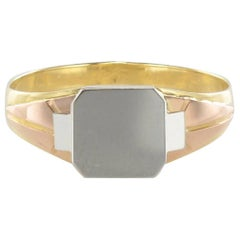 French 1930s Art Deco Three Golds Woman Signet Ring