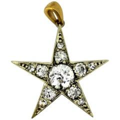 Art Deco Platinum Star Pendant with Old Cut Diamonds '0.85 Carat Total,' 1920s