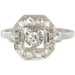 French 1930s Platinum Diamond Art Deco Ring