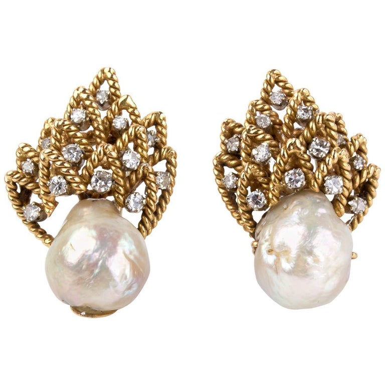 Pair of Pearl and Diamond Earrings