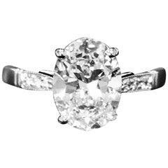 2.01 Carat Oval Diamond GIA Graded D Color VS1 Clarity Platinum Ring
