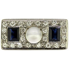 Vintage 18k White Gold Ring with Moonstone, Blue Sapphire and Diamonds, 1950s