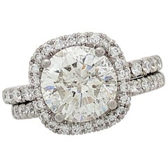 2.41ct. Natural Round Diamond Simon G Platinum Halo Engagement Ring with Band