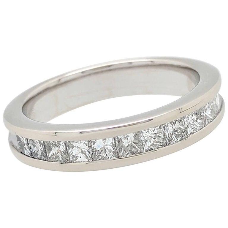 6ba76e69394c5 14 Karat White Gold 1 Carat Princess Cut Channel Set Diamond Wedding Band  Ring