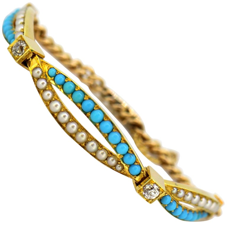 Antique Victorian 15K Gold Ladies Bracelet with Pearls, Turquoise and Diamonds