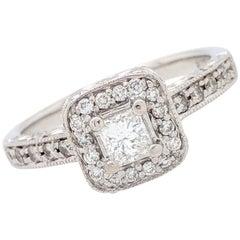 14 Karat White Gold .24 Carat Princess Cut Diamond Halo Engagement Ring SI2/H